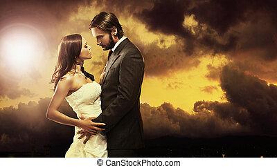 arte, foto, par, atraente, casório, multa