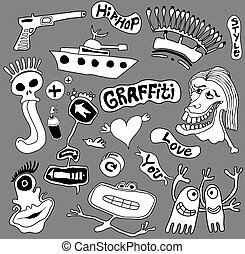 arte, graffiti, elementos, ilustração, urbano