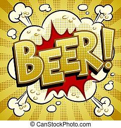 arte, ilustração, cerveja, vetorial, estouro, palavra, livro cômico