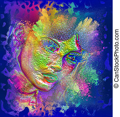 arte, mulher, face abstrata
