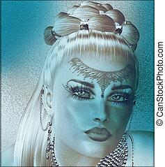 arte, mulher, rosto, abstratos