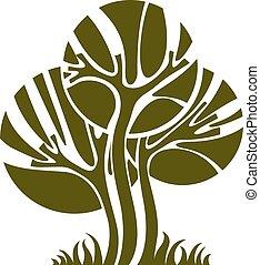 arte, natureza, imagem, simbólico, ilustração, criativo, idea., árvore, único, vetorial, floresta, concept., planta