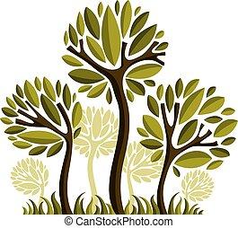 arte, natureza, imagem, simbólico, ilustração, criativo, idea., árvore, vetorial, floresta, concept., planta