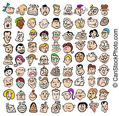arte, pessoas, doodle, ícones, rosto, caráteres, expressão, caricatura, feliz