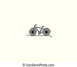 arte plana, illustration., desenho, modernos, vetorial, ciclismo, linha