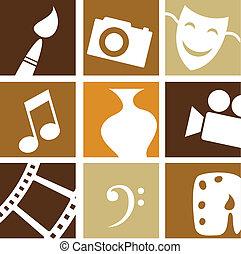 artes, criativo, ícones