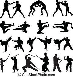 artes marciais, vário, silhuetas