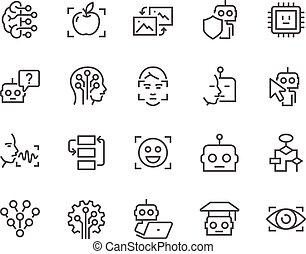 artificial, linha, inteligência, ícones