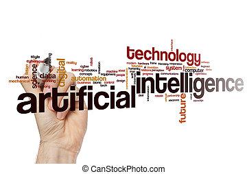 artificial, nuvem, inteligência, palavra