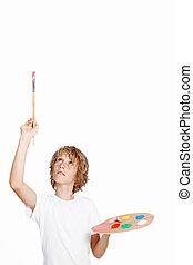 artista criança, espaço, em branco, branca, quadro