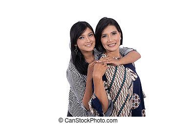 asiático, amando, abraços, mulher, jovem, mãe, dela