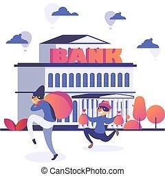 assaltante, ataque, vetorial, caricatura, bandido, apartamento, cômico, commits, ilustração, personagem, executando, banco, criminal, ativo, roubar, ladrão, assaltante, dinheiro