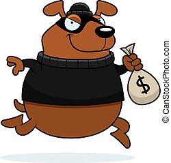 assaltante, caricatura, cão