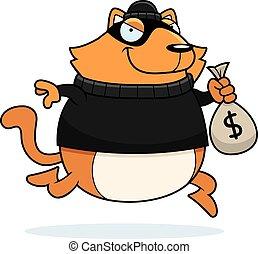 assaltante, caricatura, gato