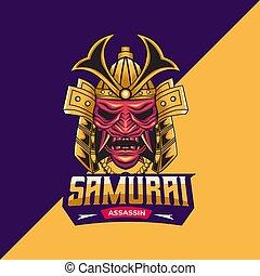 assassino, mascote, modelo, logotipo, samurai
