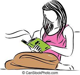 assento mulher, ilustração, vetorial, livro leitura