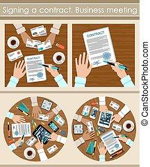 assinando, contract., negócio, meeting.
