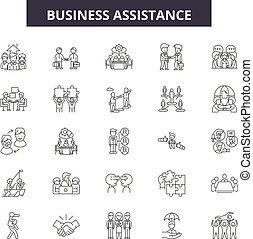 assistência, illustration:, negócio, jogo, comunicação, esboço, conceito, apoio, vector., assistência, linha, serviço, negócio, sinais, ícones, pessoa
