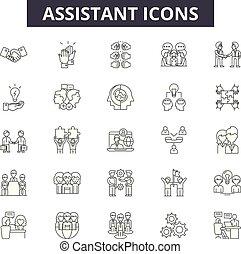 assistente, assistência, illustration:, ajuda, jogo, esboço, conceito, pessoa, assistente, vector., apoio, linha, serviço, cliente, sinais, ícones