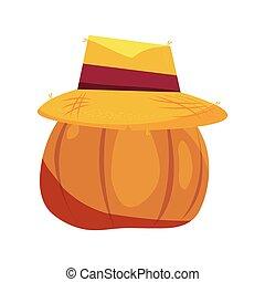 assustador, abóbora halloween, chapéu