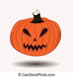 assustador, abóbora halloween, rosto