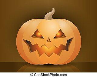 assustador, dia das bruxas, ilustração, rosto, vetorial, abóbora
