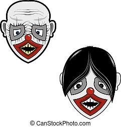 assustador, rosto