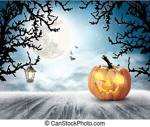 assustador, vector., moon., dia das bruxas, fundo, abóbora