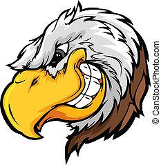 astuto, águia, cabeça, expressi, mascote