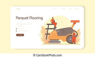 aterragem, instalador, page., ou, pavimentando, teia, profissional, bandeira