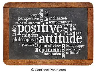 atitude positiva, conceito, quadro-negro