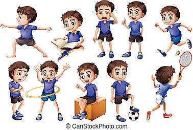 atividades, menino, diferente