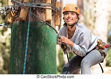 atividades, mulher, jovem, alegre, desfrutando, extremo