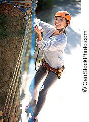 atividades, mulher, risco, hábil, alto, confiante, desfrutando