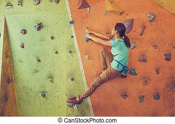 ativo, escalando, menina, indoor