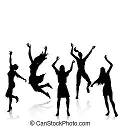 ativo, silhuetas, mulheres felizes