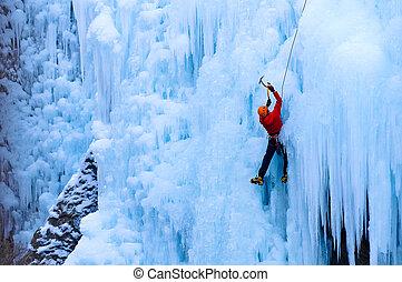 atlético, agasalho, uncomphagre, gelo, barranco, escalando, macho, vermelho