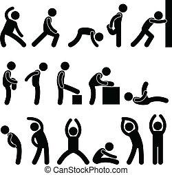 atlético, estiramento, exercício, pessoas
