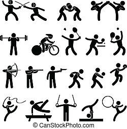 atlético, jogo, indoor, desporto, ícone