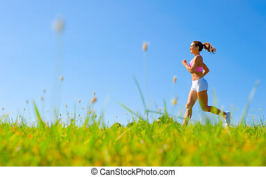 atlético, mulher, exercitar