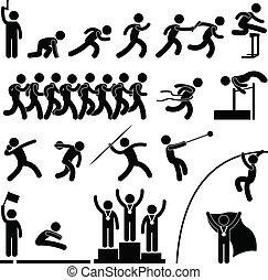 atlético, pista, jogo, desporto, campo