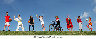 atletismos verão, acampamento, crianças