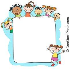 atrás de, crianças, painél publicitário, piando, ilustração