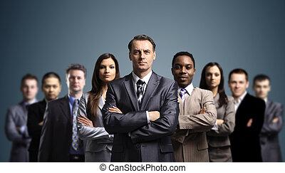 atraente, jovem, pessoas negócio