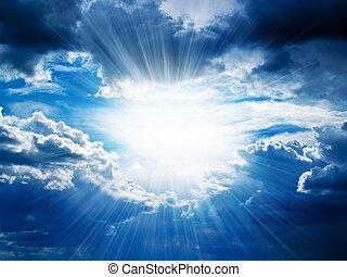 através, fraturas, raios, nuvens, sol