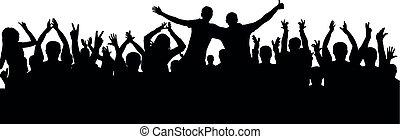 audiência, torcida, pessoas, aplaudindo, silhouette., alegre, vetorial
