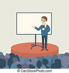 audience., apresentação, negócio