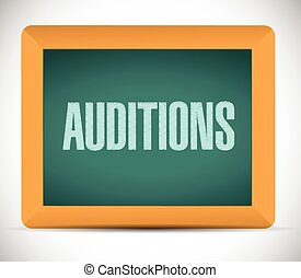 auditions, tábua, ilustração, sinal