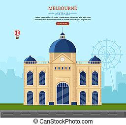 austrália, illustration., melbourne, famosos, vetorial, marco, postais