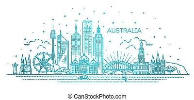 austrália, linha, marcos, arquitetura, skyline, famosos, linear, cityscape, illustration., vetorial